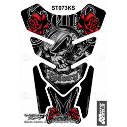 MOTOGRAFIX Tank Pad Protector 3D Gel Death or Glory Black/Red